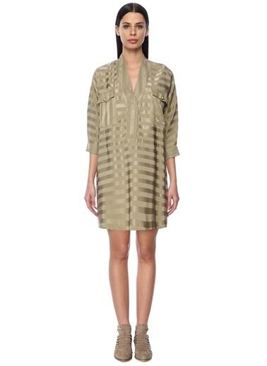 NetWork V Yaka Desenli Mini Elbise Haki